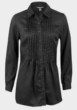 White Stag Ladies Satin Blouse with Pleat Detail and Long Sleeves Black UK 4-20