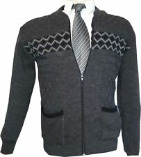 Mens Zip up Cardigans Smart Casual Wear Excellent Quality Colours Coffee, Brown,