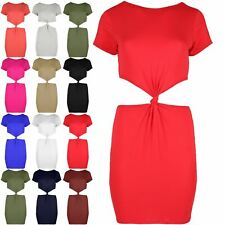 Womens Dresses Ladies Side Cut Out Bodycon Knot Front Back Cap Sleeve Mini Dress