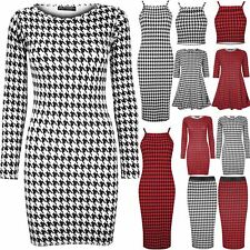 Ladies Womens Strappy Stretchy Dogtooth Bodycon Crop Tops Midi Skirt Swing Dress