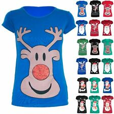 Womens Christmas T Shirt Glitter Reindeer Santa Snowman Ladies Cap Sleeve Tops