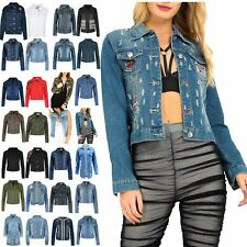 Ladies Womens Long Sleeve Casual Denim Jeans Jacket Button Down Winter Crop Top