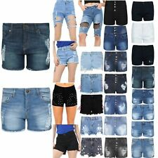 Womens Ladies Pockets Distressed Ripped Faded Destroyed Denim Mini Shorts Pants