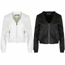 Womens Ladies Long Sleeve Side Zip Up Pockets Quilted Padded Bomber Biker Jacket