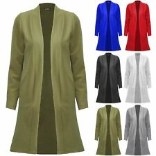 Womens Ladies Open Front Longline Coat Pockets Long Sleeve Duster Cardigan Top