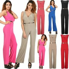 6b6412407b0f Womens Ladies All In One Wrap V Neck Gold Belted Palazzo Jumpsuit Plus Size  8-