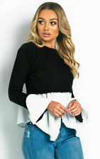 Womens Puff Sleeve Frill Hem Jumper Ladies Casual Scoop Neck Tops T-Shirt Blouse