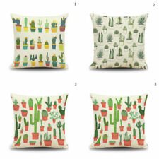 Cactus Flower Linen Pillow Case Sofa Waist Throw Cushion Cover Home Decor Gift