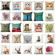 Fashion Home Decor Cotton Linen Throw Pillow Case Fox Sofa Waist Cushion Cover