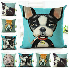 Cotton Linen Throw Pillow Case Lovely Dogs Sofa Cushion Cover Square Home Decor