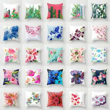 Cotton Linen Flower Pillow Case Sofa Car Throw Waist Cushion Cover Home Decor