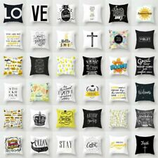 Black White Letter Polyester Pillow Case Sofa Throw Cushion Cover Home Decor