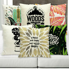 Letter Printing Cotton Linen Pillow Case Sofa Waist Cushion Cover Home Decor