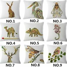 Leaves animals Linen Cotton Throw Pillow Case Cushion Cover Home Sofa Decor