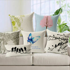 Tree And Birds Linen Pillow Case Sofa Car Waist Throw Cushion Cover Home Decor