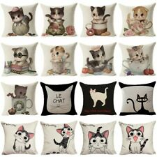 Cartoon Cat Throw Pillow Case Cotton Linen Cushion Cover Sofa Chair Home Decor