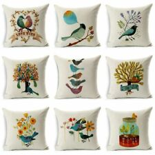 Home Cotton Bird&Tree Case  Cushion Pillow Decor Throw Linen Decor Cover Sofa