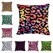 Leopard Cotton Linen Pillow Case Sofa Waist Throw Cushion Cover Home Decor
