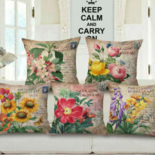 "18"" Home Cotton Linen Car Bed Sofa Throw Pillow Case Flower Square Cushion Cover"