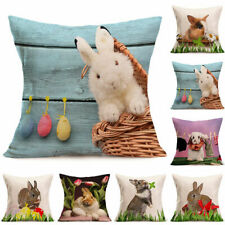 Pillow Rabbit Linen Home Cushion Printed Throw Cover Decor Lovely Case Vintage