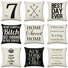 "18"" Linen Cotton Letter Throw Pillow Case Cushion Cover Home Sofa Decor New"