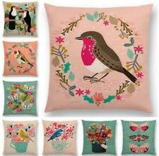 Bird Style Cotton Linen Pillow Case Sofa Waist Throw Cushion Cover Home Decor