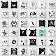 18'' Black White Animals Polyester Pillow Case Sofa Cushion Cover Home Decor