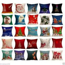 Christmas Home Decor Cotton Linen Throw Pillow Case Sofa Waist Cushion Cover NEW