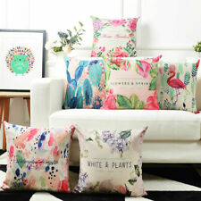 18'' Printed Cotton Linen Pillow Case Sofa Waist Throw Cushion Cover Home Decor
