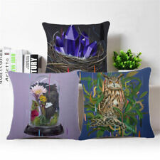 Flower Bird Pattern Cotton Linen Pillow Case Sofa Throw Cushion Cover Home Decor