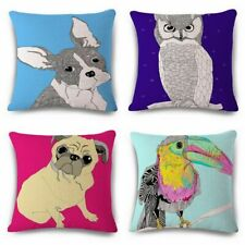 Animal Pattern Linen Throw Pillow Case Sofa Car Waist Cushion Cover Home Decor