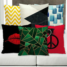 Color Geometric Letter Cotton Linen Pillow Case Waist Cushion Cover Home Decor