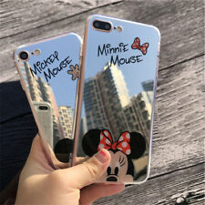 Cute Disney Cartoon Mickey Minnie Mouse Mirror Case IphoneX 7 6 8 Back Cover TPU