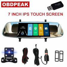 7Inch 1080P Car DVR Dual Lens Touch Screen Rearview Mirror Video Recorder Das...