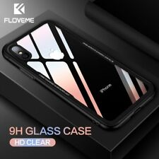 FLOVEME Tempered Glass Phone Case for iPhone X 10 , 0.7MM Protective Mobile P...
