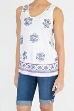 NEW White Stuff Kita Cute Embroidered Jersey Vest Tee Pretty White RRP £37.50