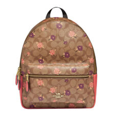 COACH Signature Tossed Peony Floral Print Medium Charlie Backpack Purse F66881