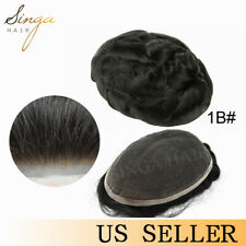 Full French Lace Men Toupee Unit Natural Front Bleached Knots Human Hair System