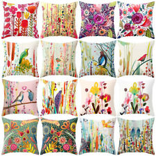 HK- Oil Painting Flower Bird Throw Pillow Case Cushion Cover Home Cafe Car Decor