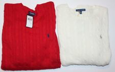 New Ralph Lauren Women's Cable Knit Crew Neck Sweater Pullover Polo Pony Logo