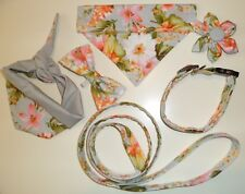 Pink lily on gray Collar Lead Bandana Bow tie Flower for Dog Cat sizes XXS - L