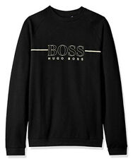 Hugo Boss Men's Black Cotton Track Suit Sweatshirt Top Casual Gold Logo