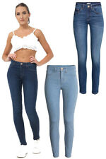 UK WOMENS RIPPED JEANS FADED SLIM FIT LADIES STRETCHY SKINNY DENIM TROUSERS SIZE