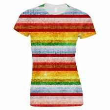 Women's Rainbow Sequins Effect Top Coloured Stripes Ladies Holiday T Shirt