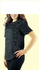 Pure Silk Short Sleeved Top in luxury silk Jacquard Crepe from £9.95