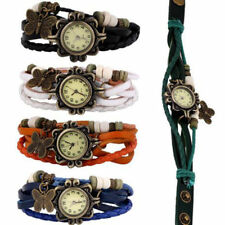 2019 Fashion Classic Women Girl Butterfly PU Leather Bracelet Wrist Watches Gift