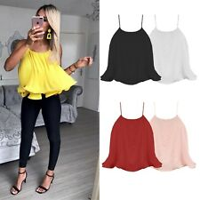 Womens Ladies Sleeveless Pleated Chiffon Strappy Cropped Flared Top shirt Blouse