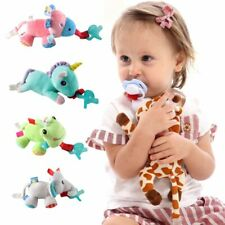 Newborn Baby Boy Girl Dummy Pacifier Soother Chain Clip Plush Animal Toys