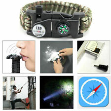 Outdoor Survival Paracord Bracelet Flint Whistle Compass Camping LED Knife Kit