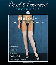 """""""Melody"""" thigh high look pantyhose two tone crotchless tights shiny matte combo"""
